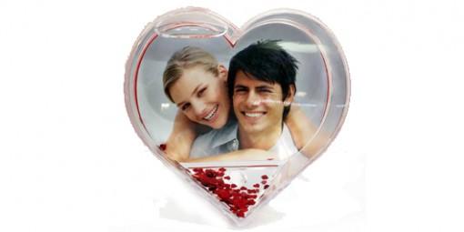 לב נצנצים + הדפסת תמונה