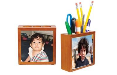 מעמד עפרונות מעץ שני צדדים + הדפסה על המוצר