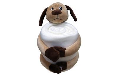 שמיכת פליז עם בובת כלב + הדפסה על המוצר