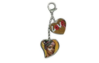 מחזיק מפתחות 2 חלקים לב + הדפסה על המוצר
