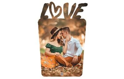 מעמד תמונה מעץ LOVE עם רגלית ממתכת + הדפסה על המוצר