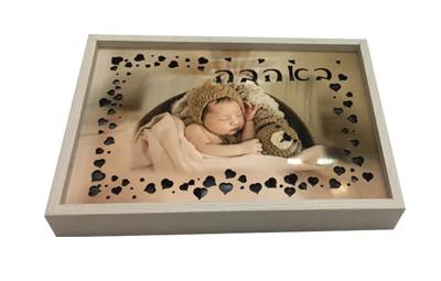 תמונה מעץ עם תאורה אחורית + הדפסה על המוצר