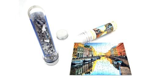 פאזל קרטון בקופסת פלסטיק  + הדפסה על המוצר